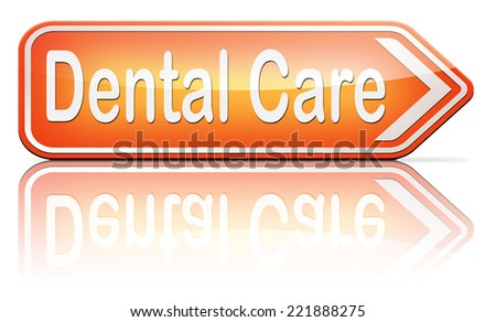 dental care center oral hygiene or surgery for healthy teeth without caries but with a beautiful smile with text  - stock photo