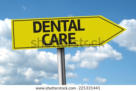 Dental Care creative sign on the clouds background - stock photo