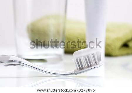 Dental care equipment on white