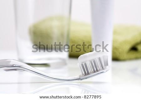 Dental care equipment on white - stock photo