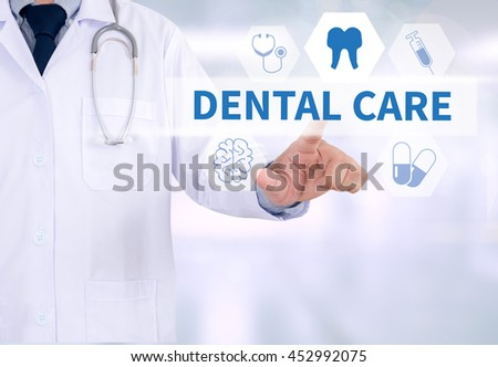 DENTAL CARE Medicine doctor working with computer interface as medical - stock photo