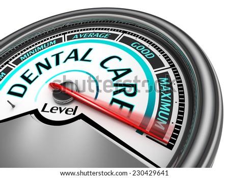 dental care meter indicate maximum, isolated on white background - stock photo