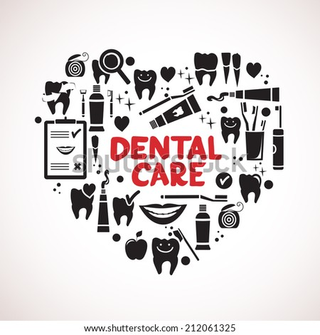 Dental care symbols in the shape of heart.  - stock photo