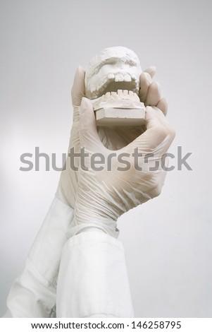 Dental Casting - hands holding dental gypsum models / Dental Concept - stock photo
