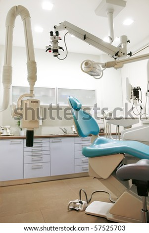 dental clinic interior design with chair and tools