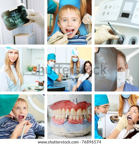 Dental collge: work in clinic (dental surgery, healthcare, medicine) - stock photo