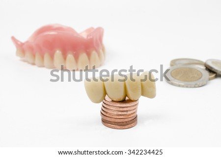 dental costs (EUR) - stock photo