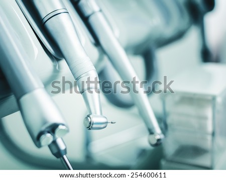 Dental drills and instruments placed