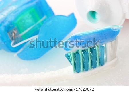 Dental equipment on white background - stock photo