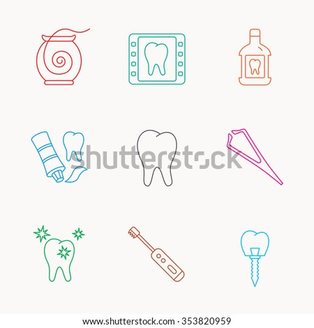 Dental floss, tooth and implant icons. Mouthwash, x-ray and toothpaste linear signs. Electric toothbrush. Linear colored icons. - stock photo