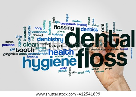 Dental floss word cloud concept with hygiene care related tags - stock photo