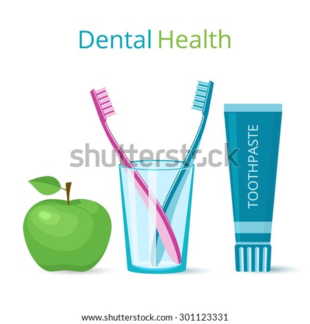Dental health icons. Toothbrushes and toothpaste, green apple.