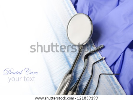 Dental instruments closeup with copyspace - stock photo