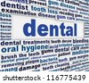 Dental medical poster design. Dentistry message background design - stock photo