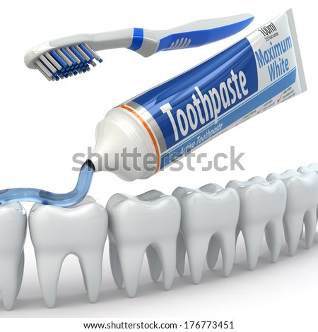 Dental protection, Teeth, toothpaste and toothbrushes. 3d - stock photo