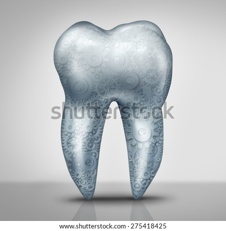 Dental technology concept as a molar tooth with gears and cog wheels inside as a dentistry business symbol for medical tools and advances for oral hygiene health care. - stock photo