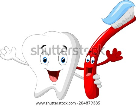 Dental Tooth and Toothbrush cartoon character - stock photo
