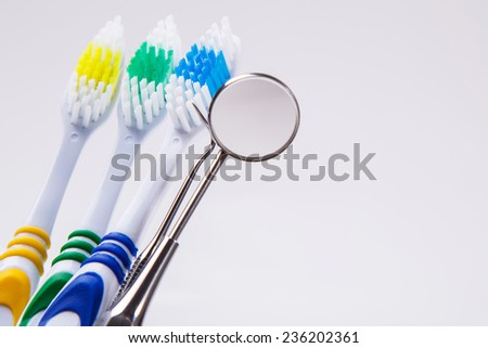 Dental. Toothbrushes on a white background - stock photo