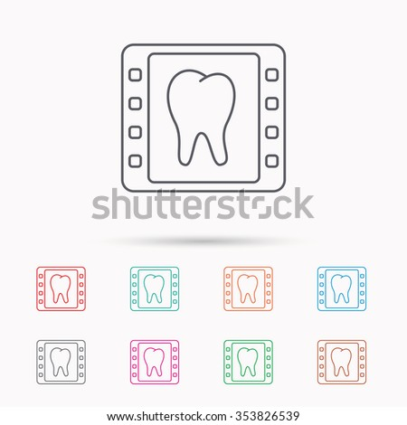 Dental x-ray icon. Orthodontic roentgen sign. Linear icons on white background. - stock photo