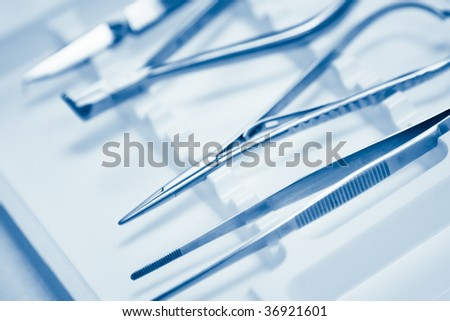 dentals tools with shallow depth of field