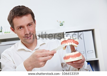 Dentist brushing teeth on dental model with oversized toothbrush - stock photo