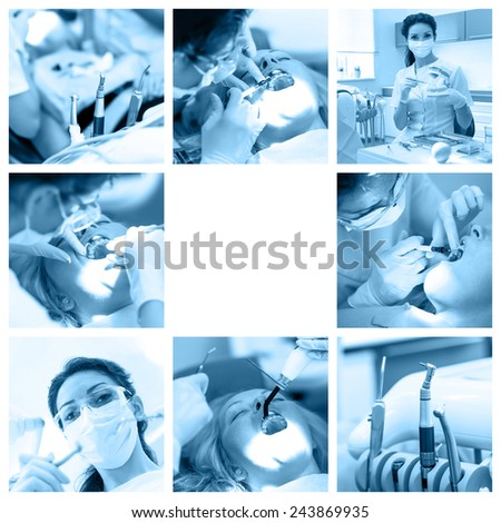 Dentist collage with different views at stomatology clinic  - stock photo