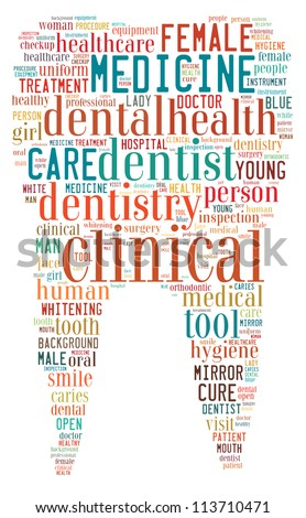 Dentist info-text graphics arrangement concept composed in tooth shape on white background - stock photo