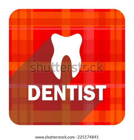 dentist red flat icon isolated