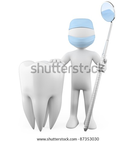 Dentist with a tooth and a mouth mirror - stock photo