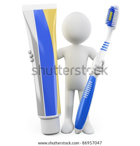 Dentist with a toothbrush and toothpaste - stock photo