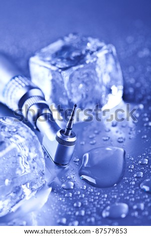 dentistry and ice cubes - stock photo