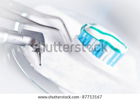 dentistry tools and dental care - stock photo