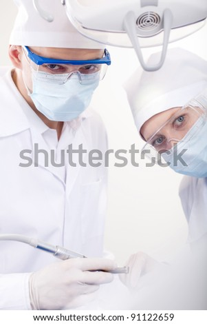 Dentists interns are welcome in the office - stock photo