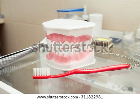 Denture shows how to use toothbrush, dental equipment on the table. Selective focus. horizontal image - stock photo