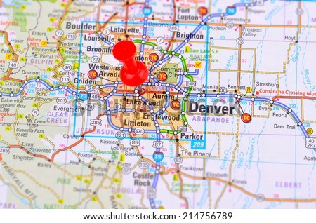 Denver and Map - stock photo