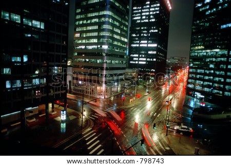 Denver at night from the Brown Palace Hotel - stock photo