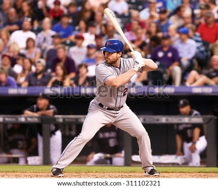 DENVER-AUG 21: New York Mets infielder Daniel Murphy waits for a pitch during a game against the Colorado Rockies at Coors Field on August 21, 2015 in Denver, Colorado. - stock photo