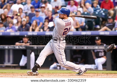 DENVER-AUG 21: New York Mets infielder Lucas Duda swings a pitch during a game against the Colorado Rockies at Coors Field on August 21, 2015 in Denver, Colorado. - stock photo