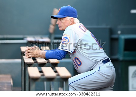 DENVER-AUG 21: New York Mets manager Terry Collins in the dugout before a game against the Colorado Rockies at Coors Field on August 21, 2015 in Denver, Colorado. - stock photo
