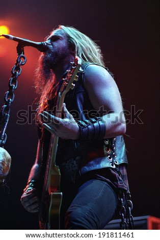 DENVER	AUGUST 22:		Guitarist/Vocalist Zakk Wylde of the Heavy Metal band Black Label Society performs in concert August 22, 2002 at the Pepsi Center in Denver, CO.