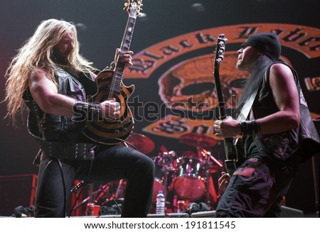 DENVER	AUGUST 22:		Guitarist/Vocalist Zakk Wylde of the Heavy Metal band Black Label Society performs in concert August 22, 2002 at the Pepsi Center in Denver, CO. - stock photo