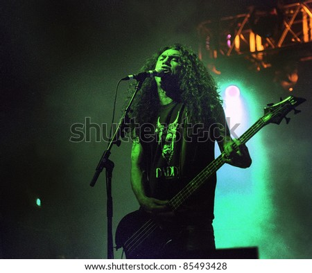 DENVER-AUGUST 9: Vocalist/Bassist Tom Araya of the Heavy Metal band Slayer performs in concert on August 9, 2002 at the Fillmore Auditorium in Denver, CO.