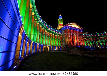 Denver City and County building decorated with lights for the holiday season. - stock photo