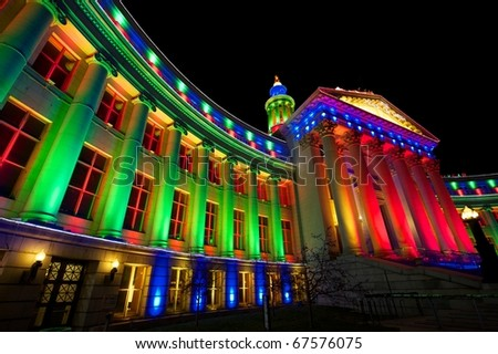 Denver City and County Building illuminated at night for the holidays. - stock photo