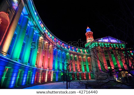 Denver City and County Building lit up for the 2009 holiday season. - stock photo