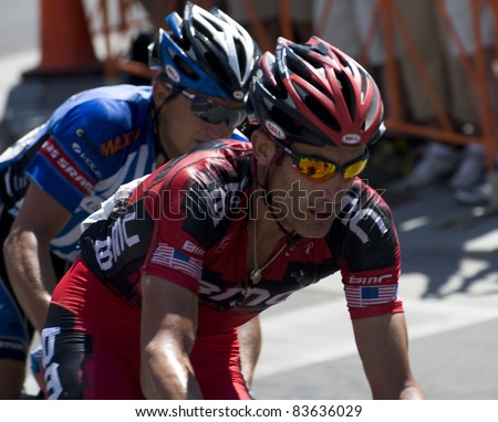 DENVER, CO - AUG 28: American cyclist George Hincapie of Team BMC at the 2011 USA Pro Cycling Challenge in Denver, Colorado on Aug 28, 2011 - stock photo