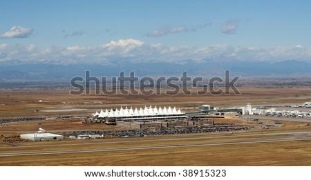 denver colorado airport from air - stock photo