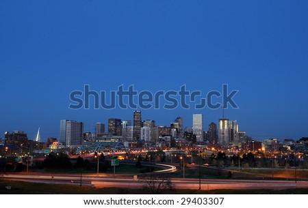 Denver, Colorado at night, long exposure - stock photo