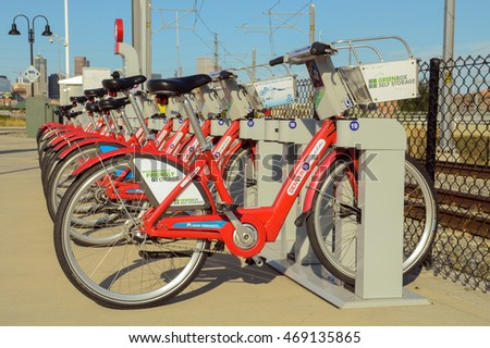 DENVER, COLORADO - AUGUST 13, 2016: Denver B-cycle is a bike sharing system with 88 stations and 700 bikes throughout ten central Denver neighborhoods