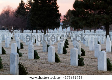 Denver, Colorado-December 16, 2012:  Christmas Honors at the Fort Logan National Cemetery, Denver.